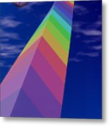 Into The Future - Rainbow Monolith And Planet Metal Print