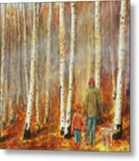 Into The Misty Autmun Woods Metal Print