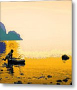 Into The Stillness - Yellow Metal Print