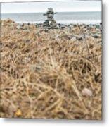 Inukshuk At Lawrencetown Beach, Nova Scotia Metal Print