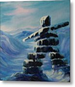 Inukshuk My Northern Compass Metal Print