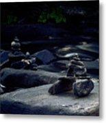 Inuksuk Stone Figures And River Metal Print
