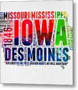 Iowa Watercolor Word Cloud  Metal Print