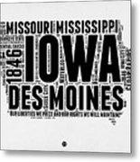 Iowa Word Cloud 2 Metal Print