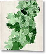 Ireland Watercolor Map Metal Print