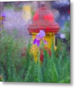 Iris And Fire Plug Metal Print