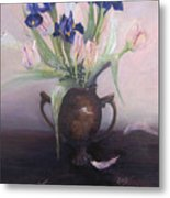 Iris And Tulips Metal Print