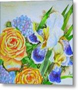 Irises And Rores. Metal Print