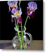 Irises In A Glass Pitcher Metal Print