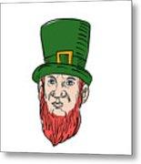 Irish Leprechaun Wearing Top Hat Drawing Metal Print