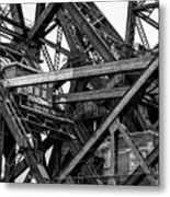 Iron Bridge Close Up In Black And White Metal Print
