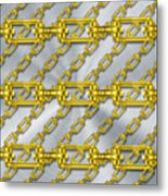 Iron Chains With Brushed Metal Texture Metal Print