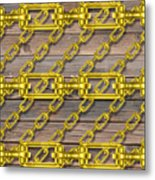 Iron Chains With Wood Texture Metal Print