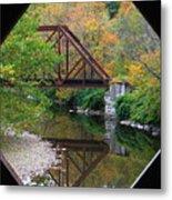 Iron Railroad Bridge From Worrall Covered Bridge Metal Print