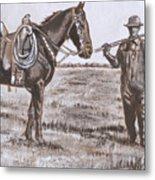 Irrigating The Hay Meadows Historical Vignette Metal Print