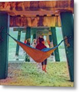 Island Dreams Under The Pier Watercolors Painting Metal Print