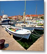 Island Of Prvic Harbor And Waterfront View In Sepurine Village Metal Print