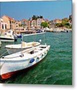 Island Of Prvic Turquoise Harbor And Waterfront View In Sepurine Metal Print