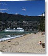 Island Princess Cruise Ship From Third Beach Stanley Park Vancouver B.c  Canada Metal Print