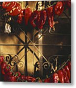 Israel Red Peppers Drying In The Sun Metal Print