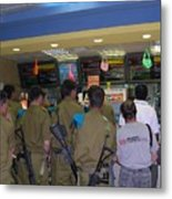 Israeli Soldiers Stop At A Kosher Mcdonald's Metal Print