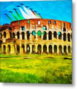 Italian Aerobatics Team Over The Colosseum Metal Print