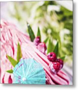 Italian Gelato Raspberry Ice Cream With Blue Umbrella Metal Print
