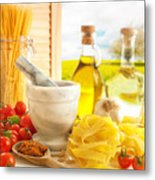 Italian Pasta In Country Kitchen Metal Print