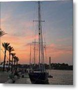 Italian Sunset And Sailboat Metal Print