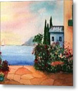 Italian Sunset Villa By The Sea Metal Print