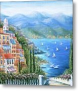 Italian Village By The Sea Metal Print