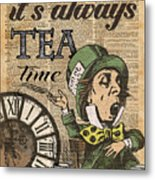 It's Always Tea Time Mad Hatter Dictionary Art Metal Print
