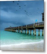 It's Getting Stormy At The Pier Metal Print