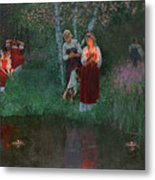 Ivan Kupala. Fortunetelling For Wreaths. Metal Print