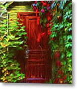 Ivy Surrounded Old Outhouse Metal Print