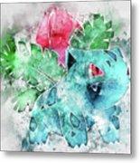 Pokemon Ivysaur Abstract Portrait - By Diana Van Metal Print