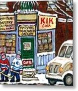 J J Joubert Vintage Milk Truck At Marvin's Grocery Montreal Memories Street Hockey Best Hockey Art Metal Print