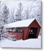 Jack O'lantern Covered Bridge Metal Print