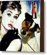 Jack Russell Terrier Art Canvas Print - Breakfast At Tiffany Movie Poster Metal Print