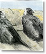 Jackdaws In The Sun Metal Print