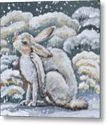 Jackrabbit And Horned Larks Metal Print