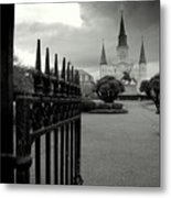 Jackson Square Gate With St. Louis Cathedral And Storm Clouds Metal Print