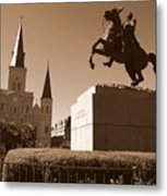 Jackson Square In New Orleans - Sepia Metal Print
