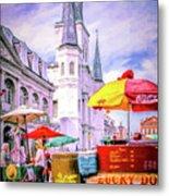 Jackson Square Scene - Painted - Nola Metal Print