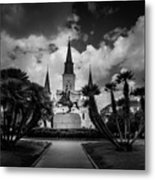 Jackson Square Sunrise In Black And White Metal Print