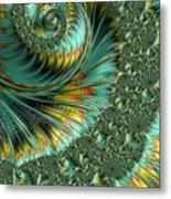 Jade And Yellow Fractal Spiral Metal Print