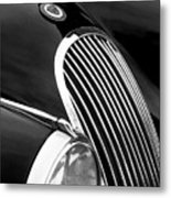 Jaguar Grille Black And White Metal Print