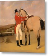James Taylor Wray Of The Bedale Hunt With His Dun Hunter Metal Print