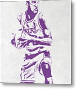 James Worthy Los Angeles Lakers Pixel Art Metal Print