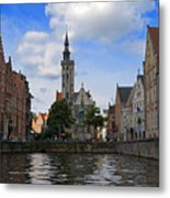 Jan Van Eyck Square With The Poortersloge From The Canal In Bruges Metal Print